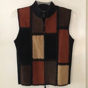 Dynamite suede/leather zip vest